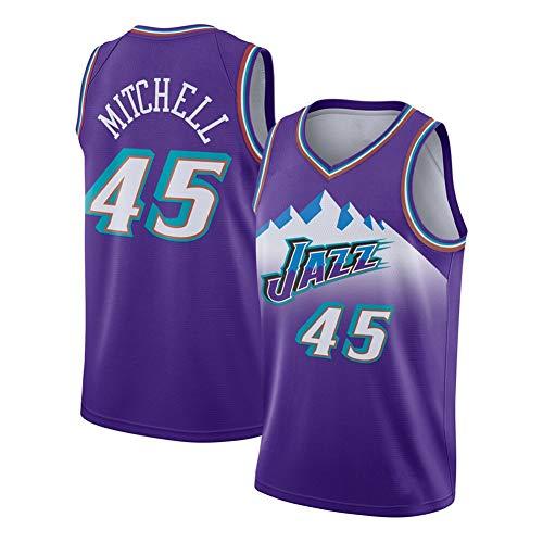 Mitchell Jazz #45 Basketball-Trikot für Herren, Retro Small Mesh Jersey, Schweißfest und schnelltrocknend Sport Weste (S-2XL) Gr. M, farbe