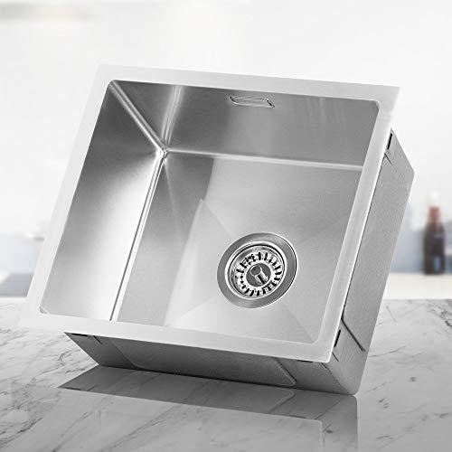 LOMAZOO Spülbecken Edelstahl Küche | Spüle Unterschrank Küchenspüle Einbauspüle Küchenwaschbecken | Kratzfest & Frostschutz-Beschichtung | Mit Schallabsorbierenden Pads | Spüle 45 x 40 cm