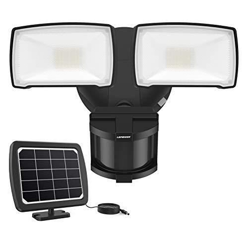 LEPOWER Solar Security Lights Motion Outdoor, 1000LM Solar Motion Sensor Light, 2 Head LED Flood Light with Solar Powered, 5500K, IP65 Waterproof Exterior Security Lights for Backyard(Black)