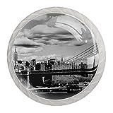 Tirador de cajón tirador de cristal redondo Perillas del gabinete Manija del gabinete de cocina,rascacielos de manhattan con cielo nublado de nueva york