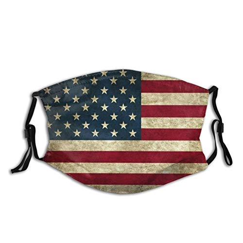 American flag face mask flags Face Mask With Filter Pocket Washable Reusable Face Bandanas Balaclava(With 2 Pcs Filters)