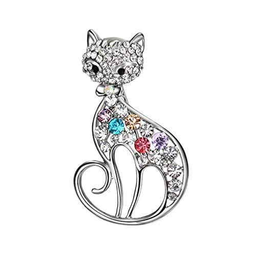 U/K nützlichFrauen Shiny Strass Katze Brosche Schal Kleid Accessoire Schmuck Sehr praktisch und beliebt