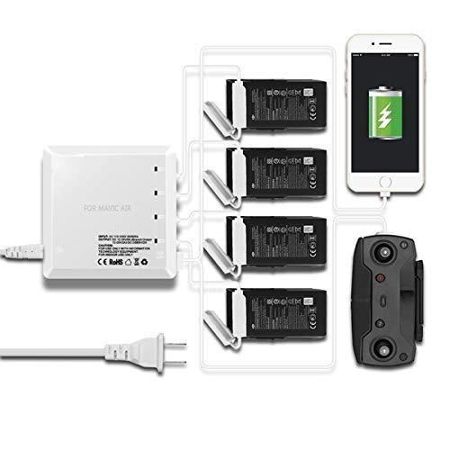 Yangers Cargador multipunto dji Mavic Air, Baterías múltiples Cargador simultáneo Balanza rápida Inteligente Paralelo para 4 baterías de Vuelo + 1 Mando a Distancia + 1 teléfono