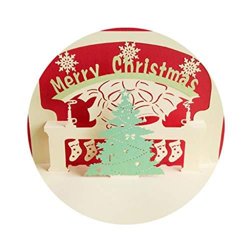 LILANPING Weihnachten 3D Grußkarte Weihnachtsbaum-Ostern-Geschenk Kreative Handgefertigte Hohl Laser-Papier Carving (Color : Red)