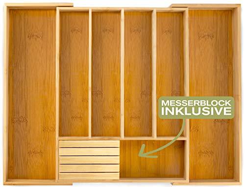 Momex Besteckkasten für Schubladen aus Bambus - Besteckeinsatz ausgezogen 55 x 45,5 x 5 cm (LxBxH) mit praktischem MESSERBLOCK gratis