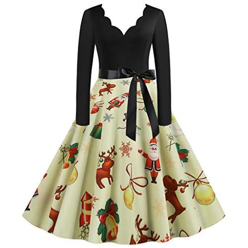 Damen Elegant Weihnachten Kleider Langarm Vintage Hepburn Cocktailkleid Weihnachten Druck Partykleid Swing Kleid Rundhals Dress Pullover Sweatshirt zur Sakko Blazer mit Pumps