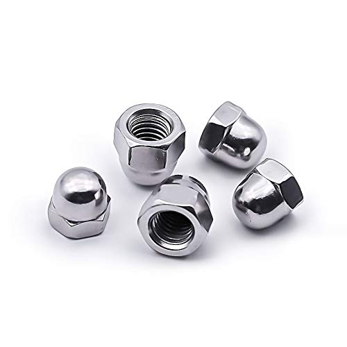1/2-13 Acorn Hex Cap Dome Head Nuts, 304 Stainless Steel 18-8, Plain Finish, Pack of 10