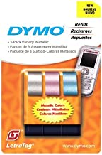 DYMO LetraTag Labeling Tape for LetraTag ABEL Makers, Black Print on Pink, Blue and Silver Metallic Tapes, 1/2'' W x 13'' L, 3 Rolls (1741827)