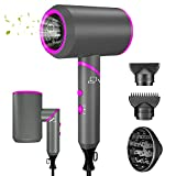 Foldable Ionic Hair Dryer,1800W Professional Blow Dryer with 3 Heating/2 Speed/Cold Setting, Negative Ion Technology Travel Hairdryer with 2 Concentrator Nozzles and 1 Diffuser for Travel,Home&Salon