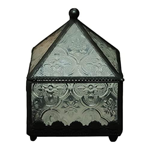 TEAYASON Joyero de Cristal Vintage Caja de Exhibición de Anillo de Aguja Tridimensional Transparente Caja de Joyería con Tapa para Pulseras, Anillos, Collar