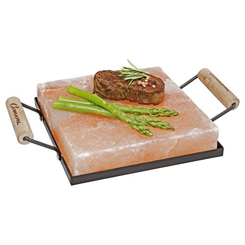 "Himalayan Salt Block Holder & Wire Cleaning Brush- Safe & Easy Salt Slab Plate and Grilling Stone Cooking (8""x8"")"