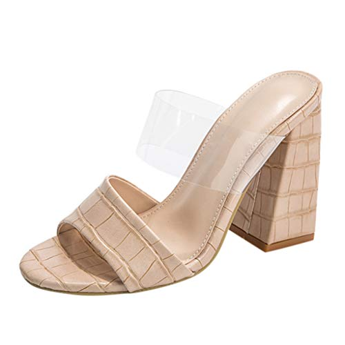 Check Out This KANGMOON Womens Summer Low Clear Block Chunky Heel Slide Sandals Square Toe Flip Flop...