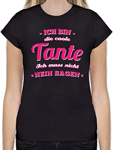 Schwester & Tante - Ich Bin die Coole Tante - M - Schwarz - L191 - Tailliertes Tshirt für Damen und Frauen T-Shirt