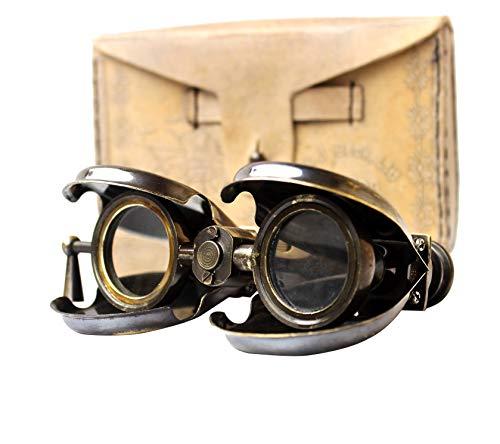 Vintage Antique Spy Glass 1857 R & J Beck Brass Binocular with Leather Case