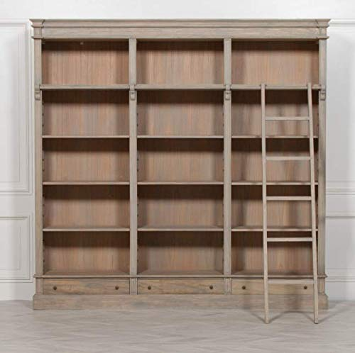 Libreria classica in legno di cedro con scala