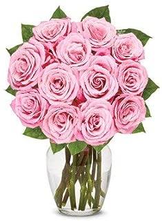 Flowers - One Dozen Light Pink Roses (Free Vase Included)