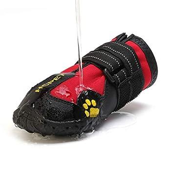AILOVA Chaussons Pattes pour Chien Antidérapant, Bottes Chaussures De Protection Coussinets Chien en Cuir PU Imperméable pour Sol Marche Sports en Plein Air De Chiots Chiennes (XXL,Rouge)