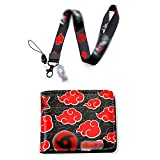 Men Boy Anime Leather Wallet Purse Credit Card Holder with Itachi Lanyard (2)