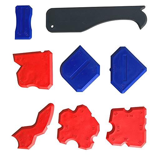 Esparcidor de sellador de silicona, esparcidor de sellador removedor de masilla 8 piezas raspador de pegamento raspador flexible para moldeo