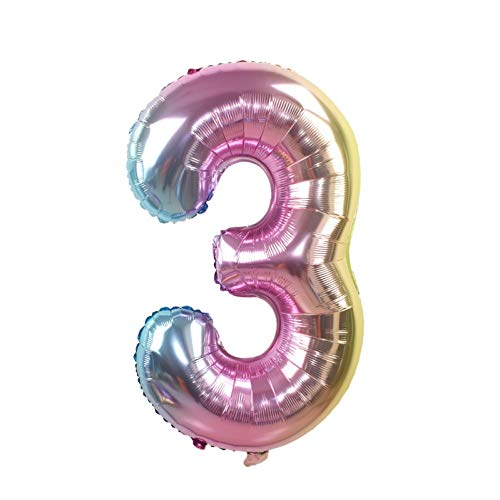 XXNYD 32Inch Iridescent Rainbow Color Number Foil Balloons Birthday Wedding Party Decoration Digital Balloon Number Air Ballon
