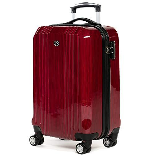 FERGÉ Handgepäck-Koffer Hartschale Cannes Bordgepäck Rollkoffer 55 cm Reisekoffer Kabinen-Trolley 4 Rollen rot