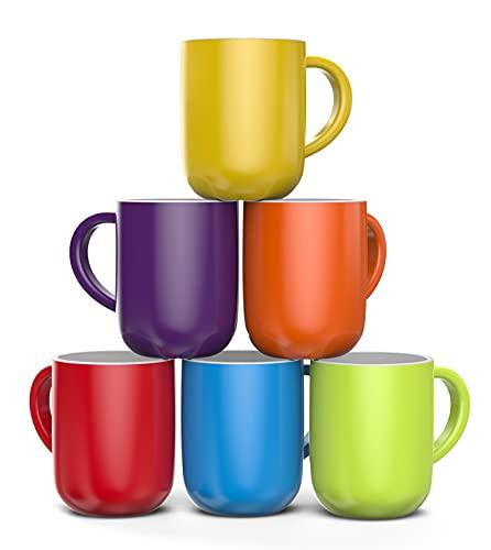 Francois et Mimi, Set of 6 Large 16 Ounce Ceramic Coffee Mugs (Colorful)