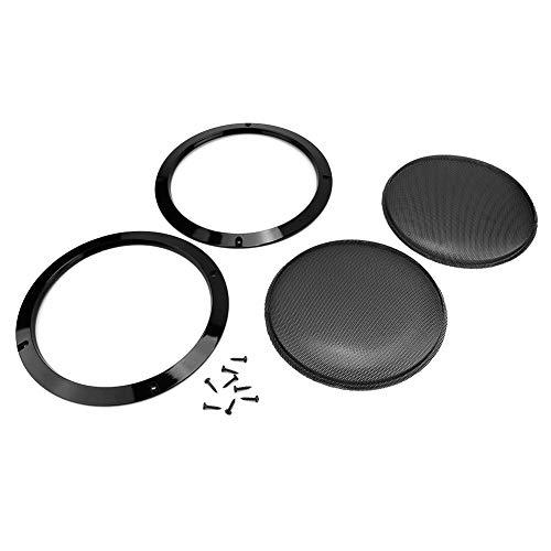 Luidsprekerhoes, 2-delige 8 inch zwarte luidsprekerhoornhoes Auto ABS kunststof + metalen luidsprekerhoes, schroef wordt meegeleverd
