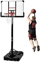 "Merax Portable Basketball System Basketball Hoop & Goal with 44"" Backboard, Breakaway Rim, 10ft Adjustable Height and Wheels for Youth, Adult Yard Driveway Fun (Black)"