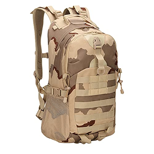 Ketamyy Military Tactical Backpack with Drinking Tube Holes, Multifunction Waterproof Large Rucksack Outdoor Molle Assault Pack Multi-Pocket Combat Bag Hunting Hiking Travel Luggage Desert Camo