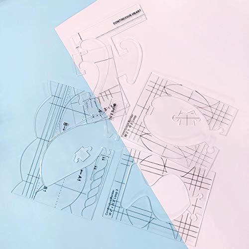 NEERIX Plantilla de acolchado de movimiento libre serie 4 para simple meander, gran diseño secundario acolchado