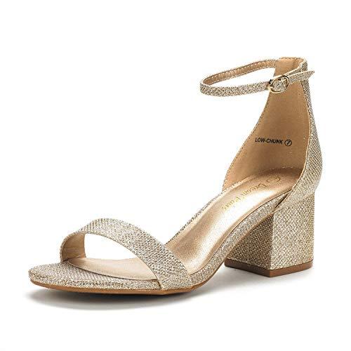 DREAM PAIRS Women's Low-Chunk Gold Glitter Low Heel Pump Sandals - 7.5 M US
