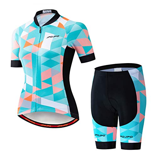Fahrrad Trikot Set Frauen Fahrrad Trikot Shorts Anzug gepolsterte Damen MTB Top Bottom Shirts Road Mountain Fahrrad Kleidung Kleidung Uniform Sommer Rennsport Bluse weiblich blau rosa XXL