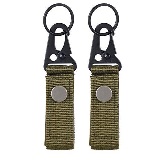 TRIWONDER Taktische Schlüsselanhänger, Gürtel karabiner, Gürtelclip, Molle karabiner, Gurtband für Bergsteigen Camping Wandern Outdoor Aktivitäten (Grün - 2)