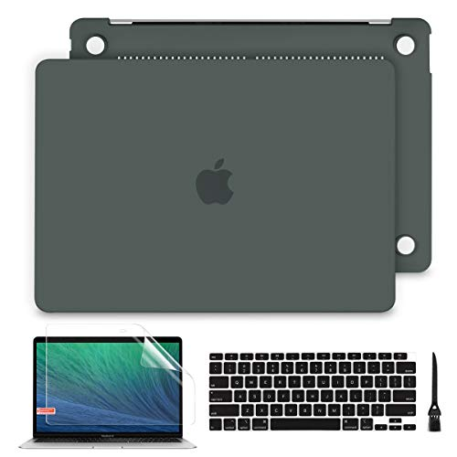 Batianda Case for MacBook Air 13 2020 2019 2018 (A2337/A2179/A1932), Frosted Hard Shell with Keyboard Cover for Mac Air 13 inch Touch ID, C-Midnight Green
