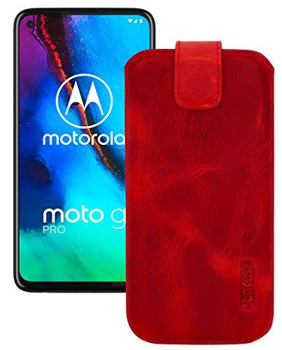 Suncase Leder Tasche kompatibel mit Motorola Moto G Pro Hülle mit ZUSÄTZLICHER Transparent Hülle   Schale   Silikon Bumper Handytasche (mit Rückzugsfunktion & Magnetverschluss) in antik-rot