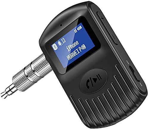 Cocoda Ricevitore Bluetooth con Schermo LCD, Adattatore Bluetooth 5.0 AUX per Auto/Home Stereo/Altoparlante/Cuffie Cablate, Doppia Connessione, Cancellazione del Rumore, Chiamate in Vivavoce, Musica