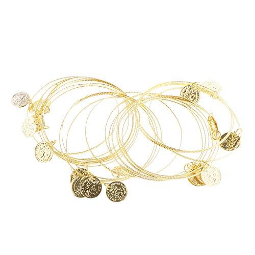 F Fityle Damen Münze Armband Armreif Armschmuck Bauchtanz Kostüm Accessoire für Bauch Dancer - Gold
