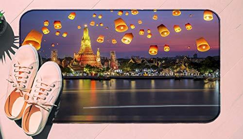 DIIRCYB Fu?Matte Indoor Outdoor rutschfeste waschbare Fu?Matte,Lantern Wat Arun Thailand Bangkok Coastline People Wishing Positive Asian Culture Decorative,DIY Cropping Teppich,for Home Kitchen Bedro