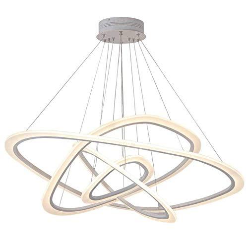 JIAXIAOYAN Lámparas luces de techo de la lámpara de la lámpara Padent Permetral Luz, Círculo irregular de 4 anillos de techo caliente pendiente de la luz LED blanca de aluminio forjado de hierro acríl