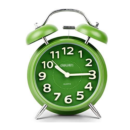 jinrun Moda Creative Lovable Personas Lazy Reloj Despertador Silent Night Light Children's Alarm Reloj de Alarma Simplemente diseño para Bedroon, Cama, Escritorio (Color : Green)