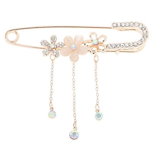 Colcolo Crystal Diamante Hijab Bufanda Pin Sastre Costura Sparkle Pins Fiesta Collar Broche - Flor de Oro