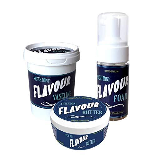 FLAVOURTATTOO - Vaselina 75 ml + Butter 50 ml + Foam 110 ml - Para tatuajes - Microblading - Micropigmentación - FRESH MINT