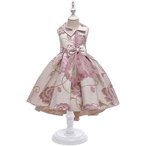 ZCRFYY Vestidos para niños, Vestidos de Princesa, Vestidos de Novia de Pasarela para niñas, Vestidos de Noche, Faldas Bordadas y esponjosas de Princesa con Cuentas,Rosado,140cm