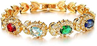 Austria 4AAAA Zircon Crystal Plated 18K Gold Women's Bracelet