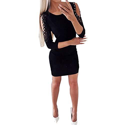 Writtian Damen Schulterfreies Spitzenkleid Langarm sexy Cocktailkleid Figurbetontes Kleid Minikleid Partykleider Wickelkleid Festliche Kleider Rot Schwarz Grau Pink Weiß