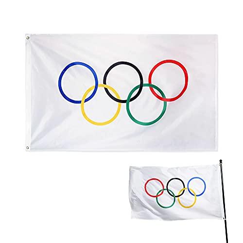 Bandera De Juegos Olímpicos, Cinco Anillos Olímpicos Banner, Cinco Anillos Olímpicos Equipo De Doble Costura Banner con Ojales De Latón para La Decoración De La Pared De Las Calificaciones