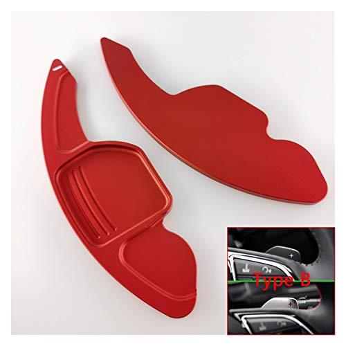 Qinglan ZHJHUA Shift Paddles Ajuste para Audi SLINE Quattro RS Q3 Q5 Q7 S3 S5 S5 SQ5 SQ7 R8 A3 A4 A5 TT TTS Padillas de dirección del automóvil Extienda DSG Pegatinas (Color : Type B Red)