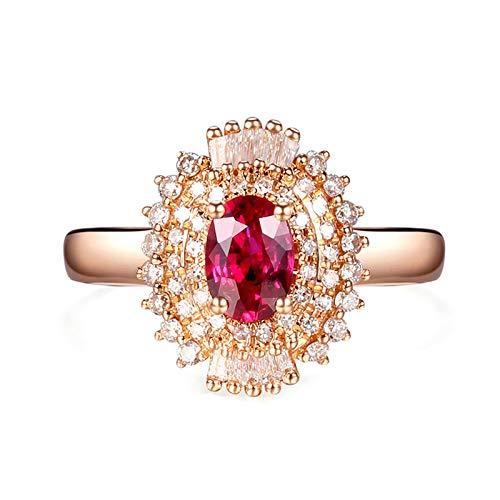 AnazoZ 18K Oro Rosa Anillos de Mujer Oro Rosa Anillos Mujer Flor Oval Rubí Rojo Blanco 0.6ct Talla 15