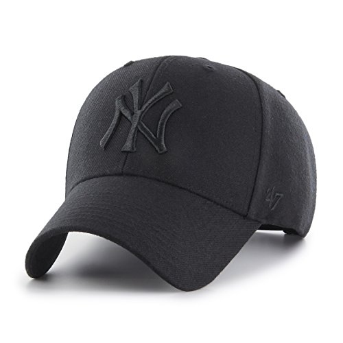 47 Brand Unisex New York Yankees Visor, Schwarz (Black B-MVPSP17WBP-BKB), (Herstellergröße: One Size)