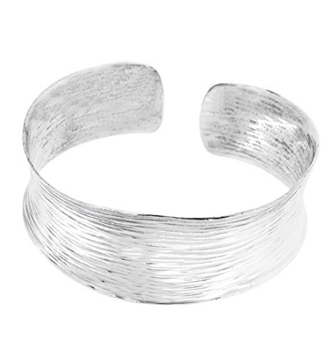 TreasureBay Brazalete grueso de plata de 28 mm para mujer